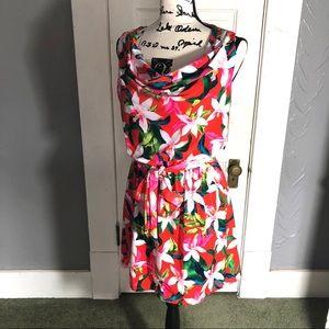 Express Tropical Waist Tie Dress NWOT